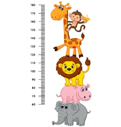Meter wall with funny cheerful animals vector