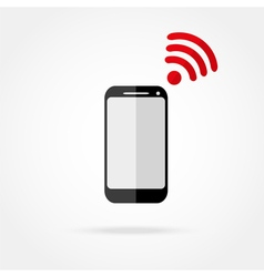Mobile phone with wi fi icon vector