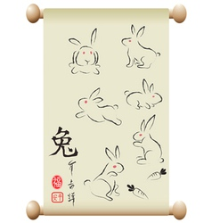 Rabbits on chinese handscroll vector