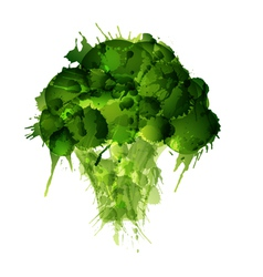 Broccoli made of colorful splashes on white backgr vector