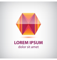 Abstract red crystal polygon geometric logo vector