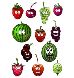 Fresh cartoon berries and fruits vector