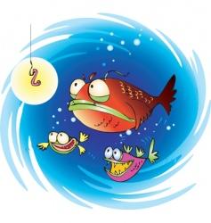 Suspiciuos fish vector