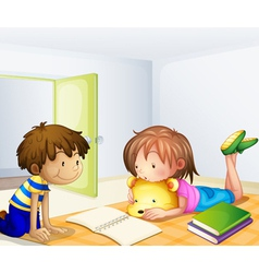 Children studying in a room vector
