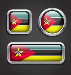 Mozambique flag glass buttons vector