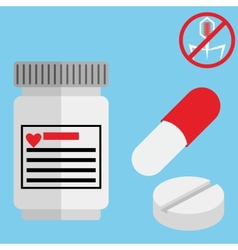 Medical capsule containers tablets and pills vector
