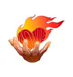 Flaming heart in her hand vector