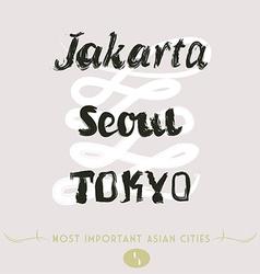 Jakarta seoul tokyo vector