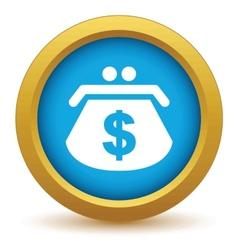 Gold dollar purse icon vector