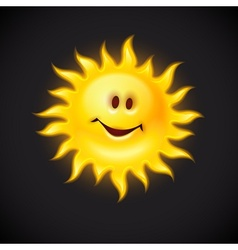 Yellow sun with smiling face vector