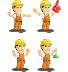 Industrial construction worker mascot 13 vector