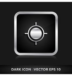 Gps navigation icon silver metal vector