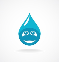 Water drop with fun face logo template vector
