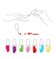 Manicure womens hands the palette of nail polish vector