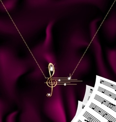 Chain with treble clef and notes vector