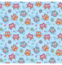 Pattern of cartoon owls vector