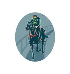 Horse and jockey racing race track vector