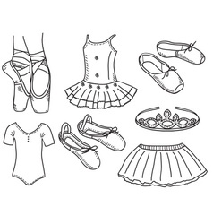 Set of ballerina accessories vector