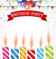 Birthday celebration with balloons and candle vector