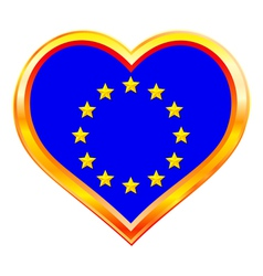 Eu flag in heart vector