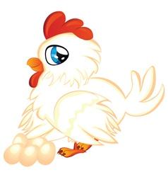 Cartoon hen with eggs vector