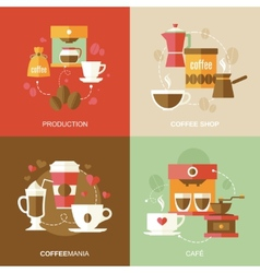 Coffee icons flat vector