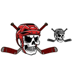 Skull in ice hockey helmet vector