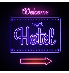 Neon sign night hotel vector