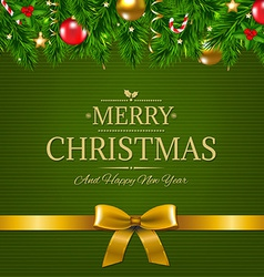 Dark green vintage card with golden ribbon vector