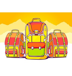 Fashion backpacks on yellow summer backgr vector