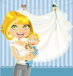 Mom with baby boy blue openwork announcement card vector