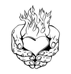Flaming heart in her hands vector