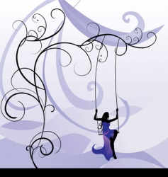 Violet girl on swing vector