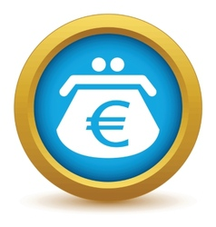 Gold euro purse icon vector
