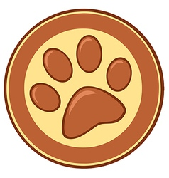 Brown paw print banner vector