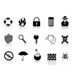 Black security icon set vector