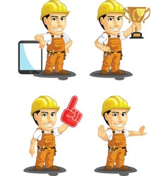 Industrial construction worker mascot 15 vector