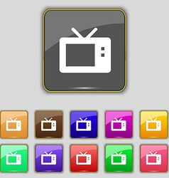 Retro tv mode icon sign set with eleven colored vector
