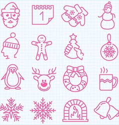 Thin line winter and christmas time icons set vector