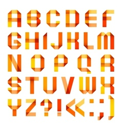 Spectral letters folded of paper ribbon-orange vector