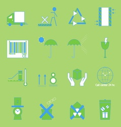 Create parcel color sign on green background vector