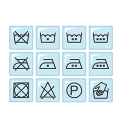 Set of instruction laundry icons care icons vector