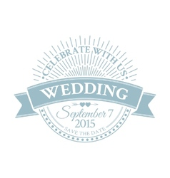 Classic wedding vintage badge vector