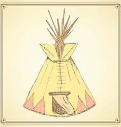 Sketch teepee house in vintage style vector
