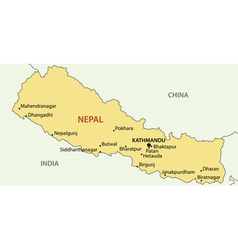 Democratic republic of nepal - map vector