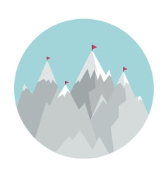 Flat style icon with mountains vector
