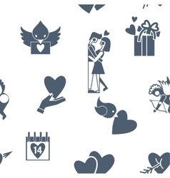 Romantic seamless with symbols of valentines day vector