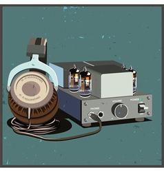 Retro headphones and amplifier vector