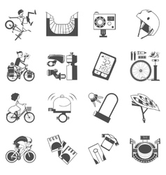 Cycling icon set black vector