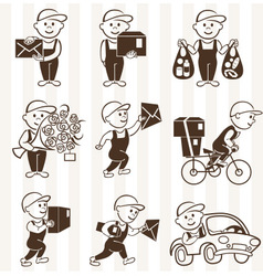 Courier with boxes and vehicles mono coloring icon vector